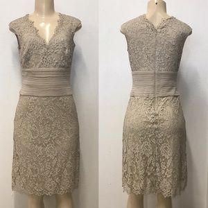 Tadashi Vintage 90s nude lace dress